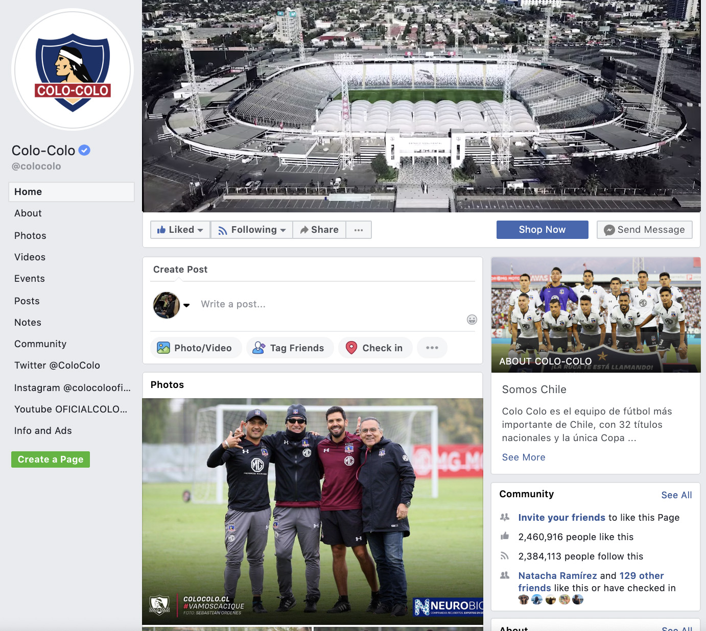 Colo-Colo Fanpage in Facebook